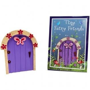 Tiny Fairy Friends Magical Adorable Arched Purple Fairy Elf Pixie Hobbit Fairy Door with Pink Butterfly & Pink Flowers- Suitable for Outdoor Garden or Indoor Skirting Board by sd -