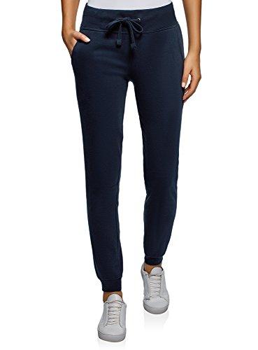 oodji Ultra Damen Jersey-Hose im Sport-Stil, Blau, DE 34 / EU 36 / XS -