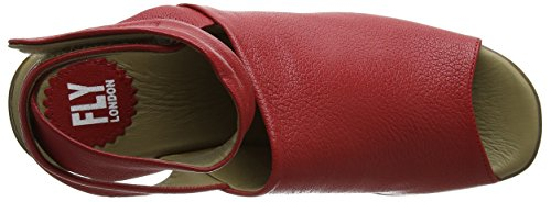 FLY London Hini892, Sandales Bride Cheville wedge Femme Rouge (scarlet 001)