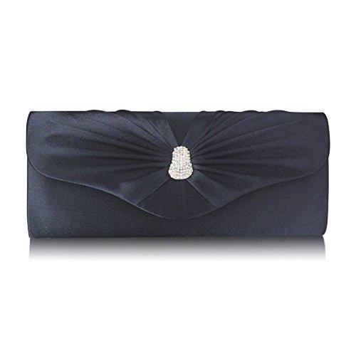TrendStar Frau Kupplungs Taschen Damen glitzerndes Kristall Satin Abend Partei Hochzeit Handtaschen Marine 1