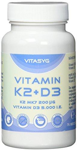 Vitasyg Vitamin K2 MK7 200µg + Vitamin-D3-5000 IE - 365 vegane Tabletten - 5 Tagesdosis