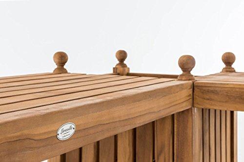 CLP Teak-Holz Gartenbank / Blumenkasten Set BALDRIAN, 2 in 1: Gartenbank + 3 Blumenkästen teak - 7