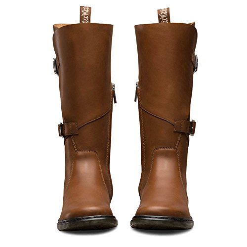 Dr.Martens Womens Caite Oily Illusion Knee High Leather Boots Braun