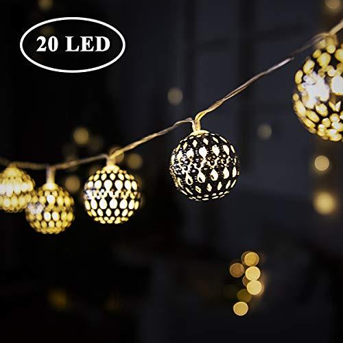 GIGALUMI LED Kugel Lichterkette 20 Silber Metall Kugel -