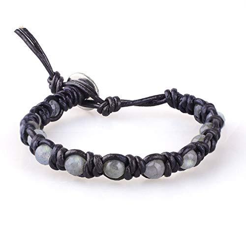 KELITCH Natürlich Labradorite Perlen Armreifen Armband aus Braunem Leder Handgemacht Wickel Armband Charm 8mm