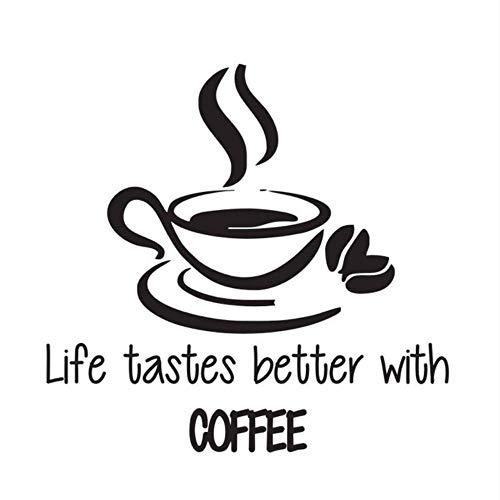 Zxfcczxf Leben Schmeckt Besser Mit Kaffee Wandaufkleber Zitate Eine Tasse Kaffee Wandtattoos Vinyl Anhaftender Aufkleber Für Küche 44 * 46 ()