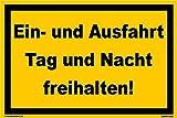 Kleberio Warn Schild 30 x 20 cm Einfahrt - Ein- und Ausfahrt Tag und Nach freihalten! - Stabile Aluminiumverbundplatte