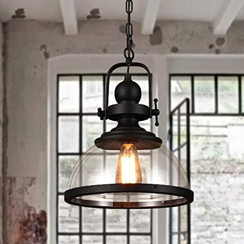 Weichunya E27 industrielle Edison-Birnen-Anhänger beleuchtet rustikale Mini-halb bündige hängende Beleuchtung mit klarem Glas-Schatten für Küchen-Insel-Esszimmer-Wohnzimmer-Schlafzimmer (Anhänger Beleuchtung Glas Schatten)