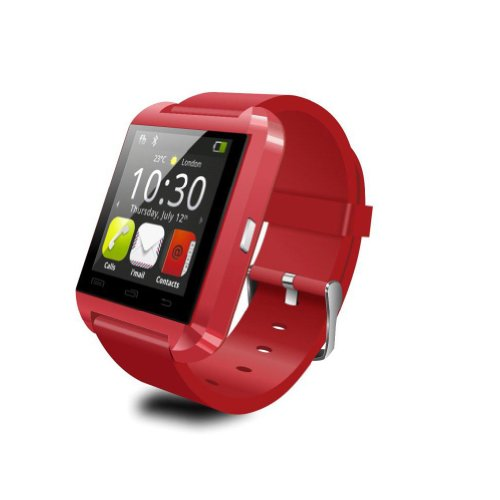 Lenovo Lemon 3 Plus COMPATIBLE Smart Android U8 Bracelet Watch and Activity Wristband, Wireless Bluetooth Connectivity Pedometer, RED, BY CASVO