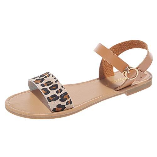 LILIHOT Sommer Damen Roma Sandalen Flache Feste Peep Toe Sandalen Freizeitschuhe Sandaletten Frauen Knöchelriemchen Plateau Flip Flop Sommersandalen Bequeme Elegante Schuhe