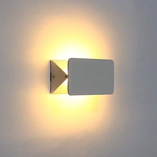 amzdeal–Lámpara de pared con ángulo de visión ajustable blanco cálido LED–Lámpara de pared para salón dormitorio Escalera Piso Interior 5W