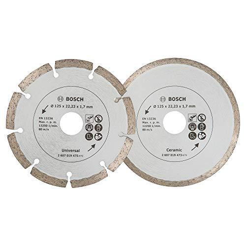Bosch 2 Diamanttrennscheiben für Fliesen und Baumaterial, 125 mm, 2607019484
