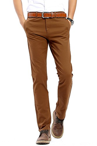 INFLATION Männlich Casual Hose Chino Stretch Stoffhose Chinohose Regular Fit HM101 Dunkelkhaki 31 (Männliche Hose)