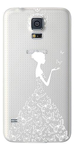 NOVAGO Coque Galaxy S5 , S5 Neo, S5 New  coque gel souple  transparent et résistant avec impression fantaisie  pour Samsung Galaxy S5(Robe Blanche)