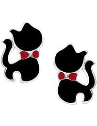 Orecchini a lobo a forma di piccolo gatto nero (1 cm x 0,7 cm) - Confezione regalo compresa - Pacchetto natalizio