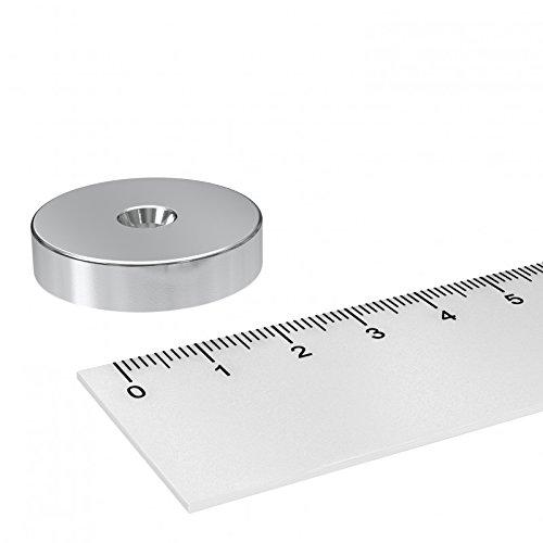 Neodym Scheiben Magnet, 30 x 7 mm, mit 5.5 mm Bohrung und Senkung, vernickelt, zum Einschrauben -
