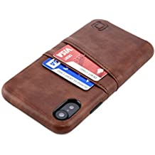 Dockem Exec M2 Wallet Case for iPhone XR; Slim Card Case with Integrated Metal Plate for Magnetic Mounting [Brown]