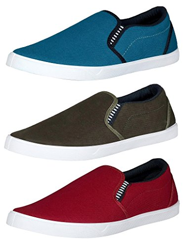 Chevit Men's Maroon, Blue and Olive Canvas Casual Shoes (8 UK/Ind) Combo Pack of 3