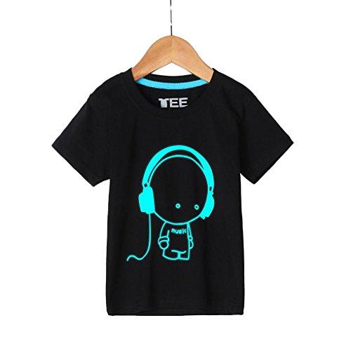 Kinderkleidung Jungen,Binggong Sommer Familie Kinder Jugend Und Vater Headset Kurzarm Fluoreszenz T-Shirt Kleidung Familienspiel Outdoor Sport Kurzarm (140CM, Schwarz) -