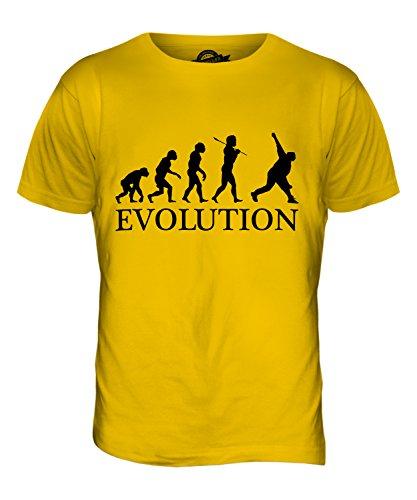 CandyMix Cricket Bowler Evolution Des Menschen Herren T Shirt Dunkelgelb