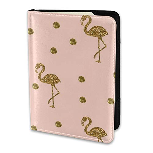 Pink Polka Sleeve (Passport Holder Cover,Flamingo Gold Polka Dots On Blush Pink Wallet Credit Card Set Blocking Leather Card Case Travel Accessories 6.5
