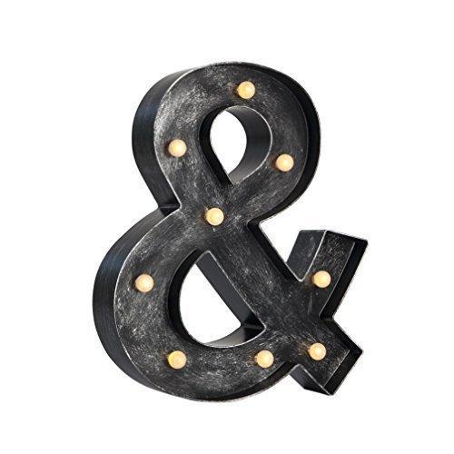 Luminoso 12-inch (30cm) LED Carpa Letras con Vintage Antiguo Industrial Acabado - A elegir 20+ letras / Símbolos en Bronce Antiguo o Acabado En Plata - Plata Antigua, &