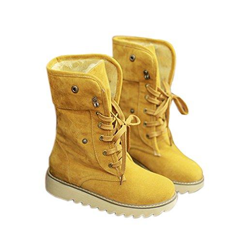 Minetom Femme Hiver Chaudes Bottes De Neige Fourrées Cheville Matte En Daim Chaussures Snow Boot Jaune