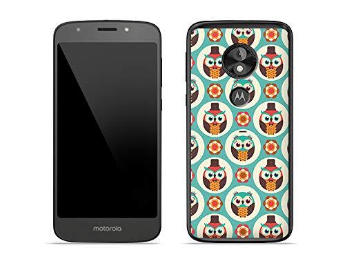 etuo Motorola Moto E5 Play - Hülle Fantastic Case - Bunte Eulen - Handyhülle Schutzhülle Etui Case Cover Tasche für Handy