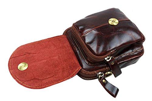 Genda 2Archer Mini Hombres de Cuero Bolso de la Cintura / Hombro (11cm * 13cm * 7cm)