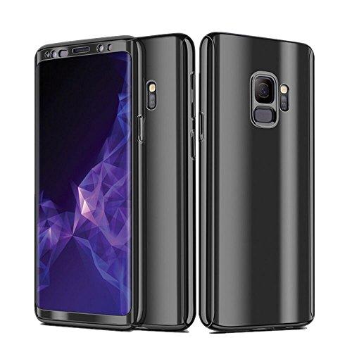 Samsung Galaxy S9 Hülle,360 Grad Ganzkörper Schutz Ultra Dünner 3 in 1 Handyhülle Hart Schrubben PC mit Plating Kappen Electroplate Bumper Cover Schutzhülle für Galaxy S9 (5.8 Zoll) (Schwarz)