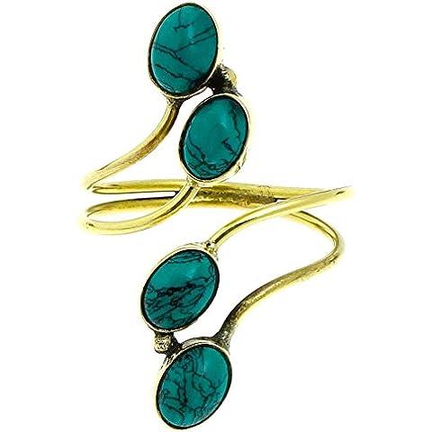 Anelli di ottone Brass Chic-Net turchese ovale nickel oro antico anello tribale ramificato regolabile gratuito