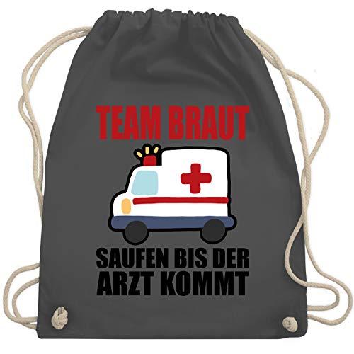 JGA Junggesellinnenabschied - JGA - Team Braut - Saufen bis der Arzt kommt - Unisize - Dunkelgrau - WM110 - Turnbeutel & Gym ()