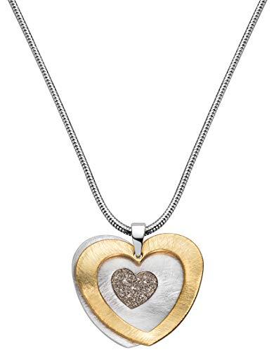 Perlkönig Kette Halskette | Damen Frauen | Silber Gold Farben | Herz in Herz Anhänger | Glitzer Steine | Nickelfrei