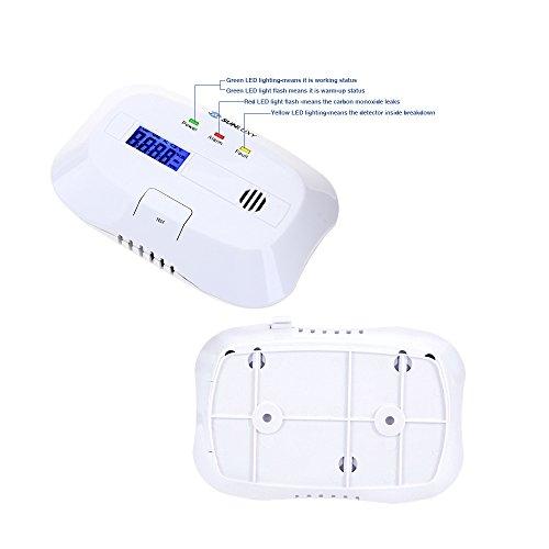 SUNLUXY CO Alarm CO Melder Kohlenmonoxid-Detektor & Feueralarm mit Optischer Sensor batteriebetrieben weiß - 6