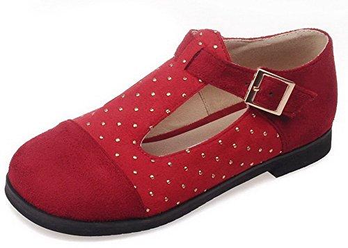 VogueZone009 Femme Couleurs Mélangées Matière Souple Non Talon Boucle Rond Chaussures à Plat Rouge