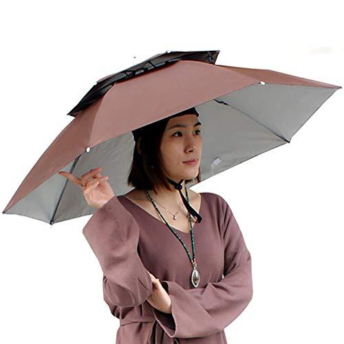 lymty Regenschirm Hut, Neuheit Doppelschicht Sonnenhut Golf Angeln Camping Kostüm Falten Headwear Wasserdichte Gummiband für Angeln Gartenarbeit
