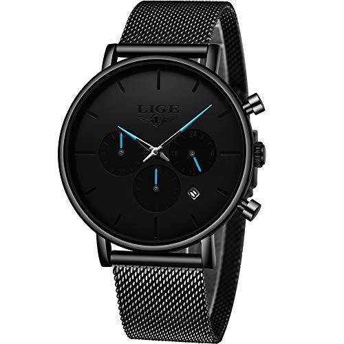 LIGE Herren Uhren Wasserdicht Männer Multifunktional Chronograph Armbanduhr Kalender Elegant Schwarz Quarz Herrenuhr für Mann Edelstahl Mesh Armband