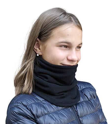 Hilltop Für Kinder und Teenager doppellagiger Fleece Schlauchschal/Herbst & Winter Schal/Halswärmer mit Baumwolle, beidseitig tragbar, Design/Farbe:schwarz doppell. Strick