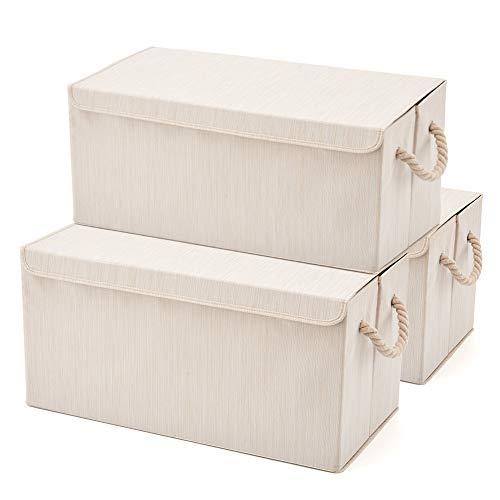 EZOWare 3-Pack Aufbewahrungsbox mit Deckel, Cube Aufbewahrungskorb Ordnungsystem Stauraum Boxen Körbe Kisten - 61 x 30,5cm (Beige)