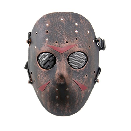 haoyk CS Spiele Jason Metall Mesh Maske Safeguard Full Face Schutz Maske für Halloween Masquerade Cosplay Kostüm Party, kupfer (Jason Halloween-kostüm Von)