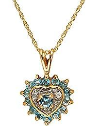 Bijoux pour tous 181P0051-43/9 - Colgante de oro amarillo de 9 quilates con topacio azul (.015)