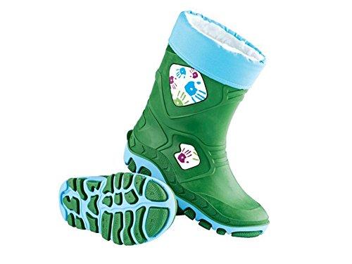 Kinder Regenstiefel mit herausnehmbarem Warmfutter grün (32/33) (Kinder Schuhe Großhandel)