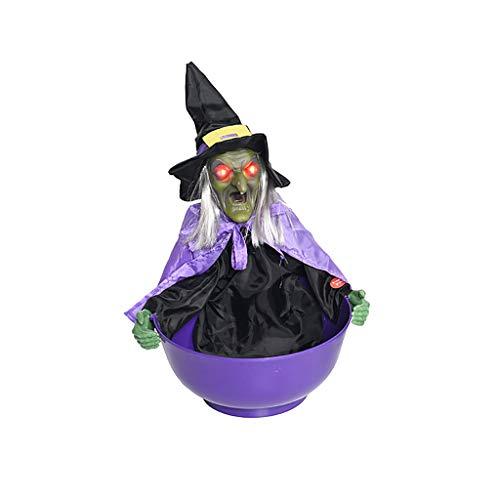 TIREOW Halloween Hexe Requisiten Verkleiden Grusel Zahl Modell Grim Animated Trick Süßigkeiten Halter Container Schüsseln Box (Lila)