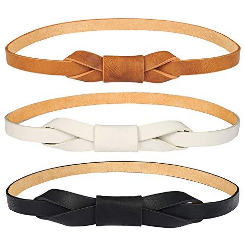 FANTESI Skinny Taillengürtel, für Damen, verstellbar, Skinny Leder-Kleid, Taillenband, 3 Stück