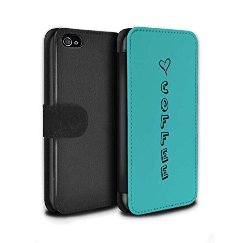 Stuff4 Coque/Etui/Housse Cuir PU Case/Cover pour Apple iPhone 4/4S / Bleu/Chaussures d'Amour Design / Coeur XOXO Collection Bleu/Amour Café