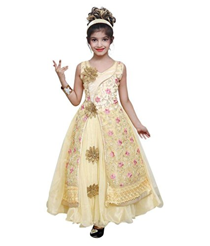 Evening GOWN Flower girl dress,for kids - FANCY, Party wear, long frocks in CREAM Colour for 6 to 7 years by Roop Trading Co