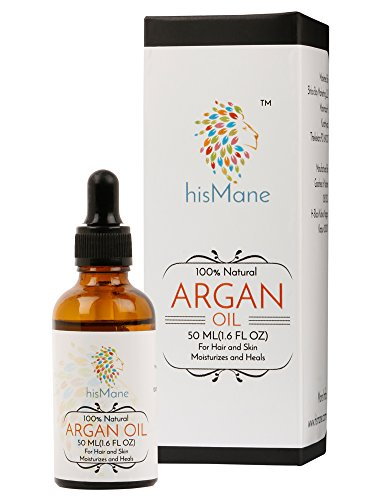 hisMane Pure Argan Oil(Argania spinosa) from Morocco 50ml with Dropper for Hair, Face, Skin, Body& Nails, 100% Natural Moisturizer, The Natural Anti Ageing, Anti Wrinkle Beauty Secret.
