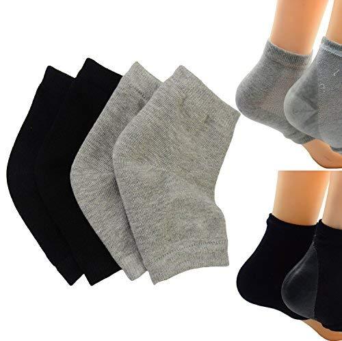2 Paar Feuchtigkeitsspendende Silikon-Gel-Ferse-Socken für Trockene Harte Rissige Haut Feuchtigkeitsspendende Offene Zehe Comfy Erholung Socken(Schwarzgrau) - Creme Baumwolle Mischung