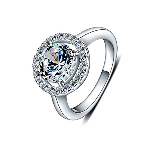 WHCREAT Damen 925 Sterling Silber Ringe, 1.5 Karat glänzend Runde Zirkonia mit kleinen CZ um Hochzeit / Verlobungsring, Größe 51 - 11 Größe Damen-verlobungsringe,