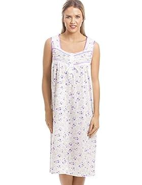 Camicia da notte classica senza maniche con stampa floreale - bianco e lilla